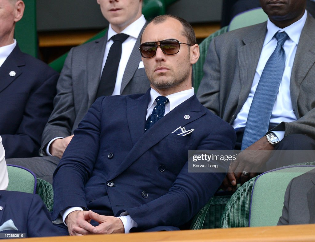 <a gi-track='captionPersonalityLinkClicked' href=/galleries/search?phrase=Jude+Law&family=editorial&specificpeople=156401 ng-click='$event.stopPropagation()'>Jude Law</a> attends Day 11 of the Wimbledon Lawn Tennis Championships at the All England Lawn Tennis and Croquet Club on July 5, 2013 in London, England.
