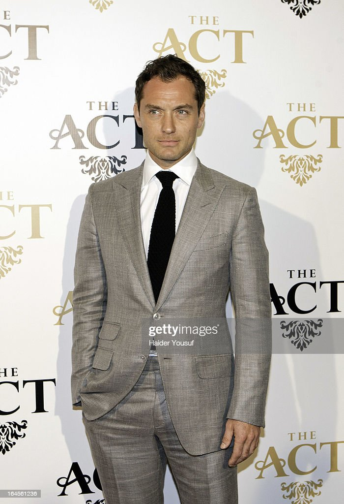 <a gi-track='captionPersonalityLinkClicked' href=/galleries/search?phrase=Jude+Law&family=editorial&specificpeople=156401 ng-click='$event.stopPropagation()'>Jude Law</a> attends the launch party for The Act Dubai, the World's highest theatre club at Shangri-La Hotel on March 24, 2013 in Dubai, United Arab Emirates.