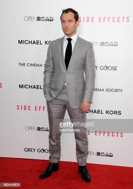 Jude Law attends the premiere of 'Side Effects' hosted by Open Road with The Cinema Society and Michael Kors at AMC Lincoln Square Theater on January...