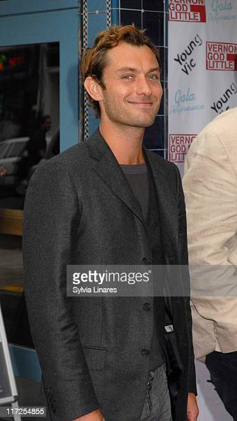 Jude Law during Vernon God Little Gala Performance Outside Arrivals at The Young Vic in London Great Britain