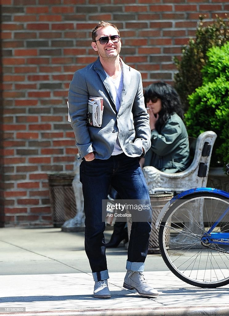 <a gi-track='captionPersonalityLinkClicked' href=/galleries/search?phrase=Jude+Law&family=editorial&specificpeople=156401 ng-click='$event.stopPropagation()'>Jude Law</a> is seen in the East Village on April 26, 2013 in New York City.