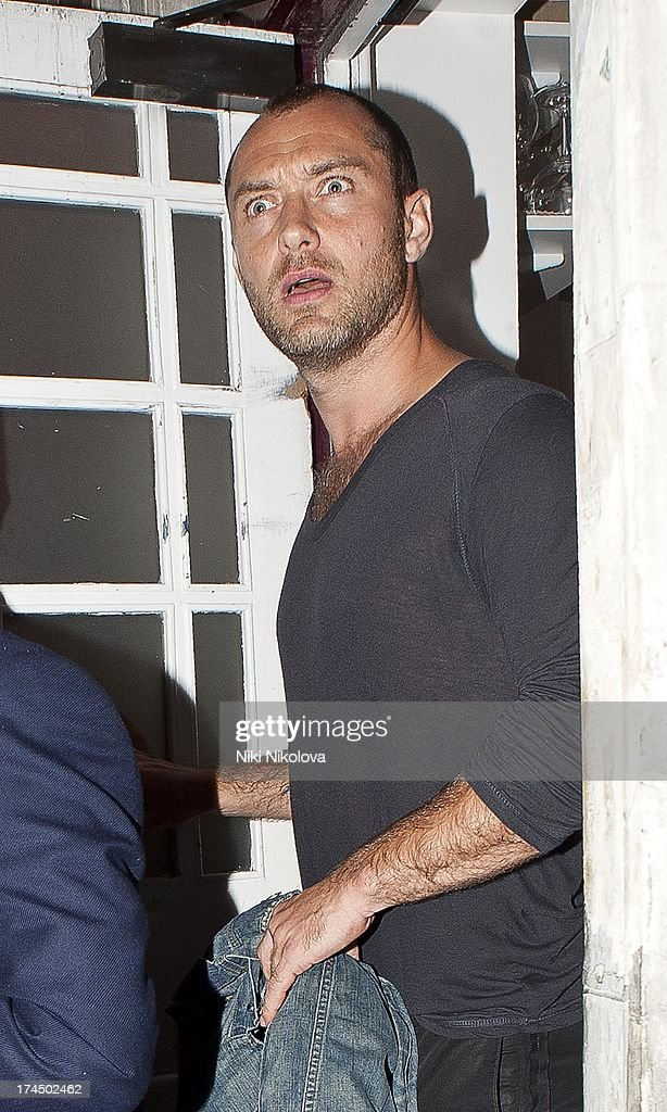 Jude Law leaving Lulu Restaurant, Mayfair on July 26, 2013 in London, England.