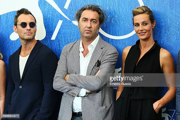 Jude Law Paolo Sorrentino and Cecile de France attend the photocall of 'The Young Pope' during the 73rd Venice Film Festival at Palazzo del Casino on...