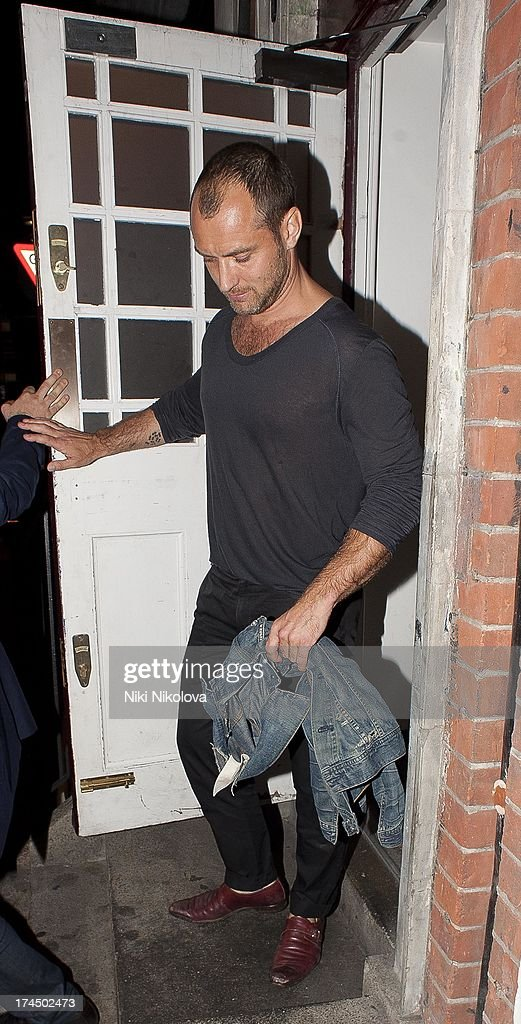 Jude Law sighted leaving Lulu Restaurant, Mayfair on July 26, 2013 in London, England.