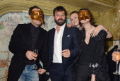 Jude Law Simon Hammerstein Amber Atherton and Gala Gordon attend The Box 3rd Birthday Party sponsored by Belvedere Vodka at The Box Soho on February...