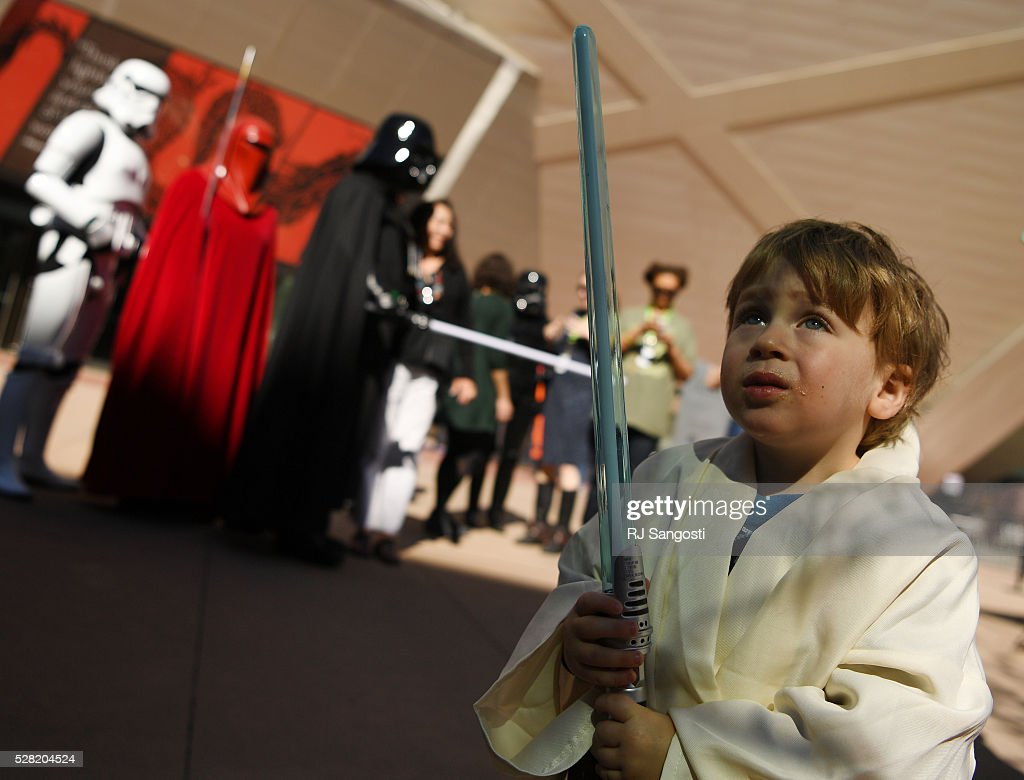 Jude Lev, 3, is ready to battle the dark side outside the Denver Art Museum, May 04, 2016. The museum held a May the 4th Be With You event to kick off ticket sales for the upcoming exhibition, Star Wars and the Power of Costume, opening at the DAM in November.
