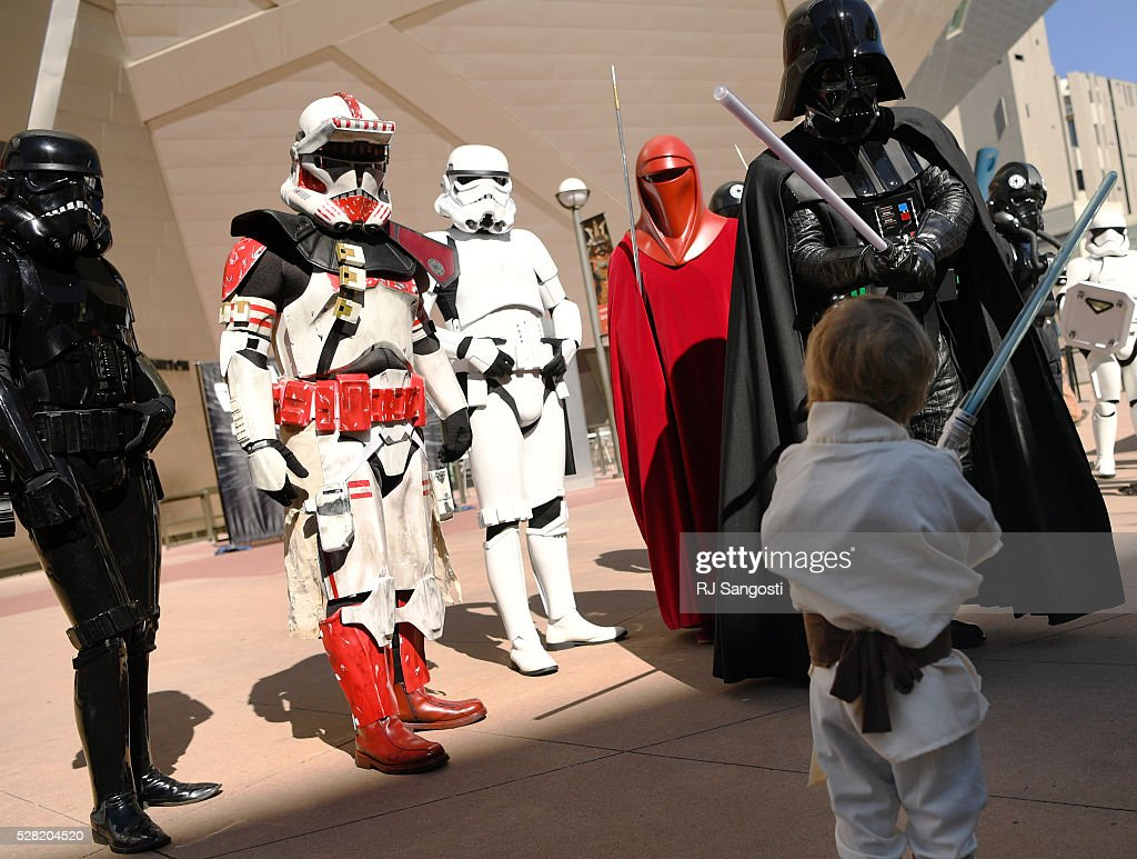 Jude Lev, 3, takes on Darth Vader in a battle outside the Denver Art Museum, May 04, 2016. The museum held a May the 4th Be With You event to kick off ticket sales for the upcoming exhibition, Star Wars and the Power of Costume, opening at the DAM in November.