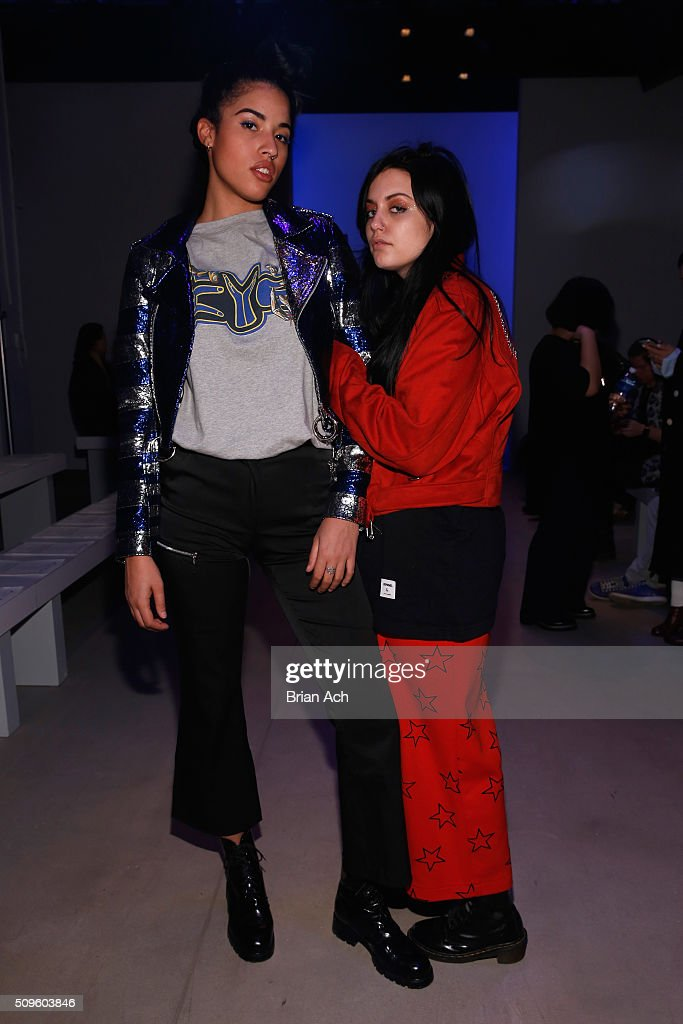 Jude Liana (L) and Danielle Greco attend the Kye Fall 2016 fashion show during New York Fashion Week: The Shows at The Gallery, Skylight at Clarkson Square on February 11, 2016 in New York City.
