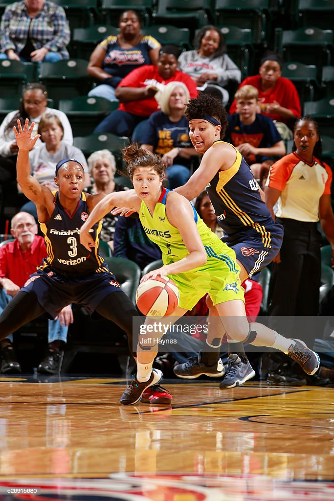 Jude Schimmel #7 of Dallas Wings handles the ball against the Indiana Fever during a preseason game on May 1, 2016 at Bankers Life Fieldhouse in Indianapolis, Indiana.