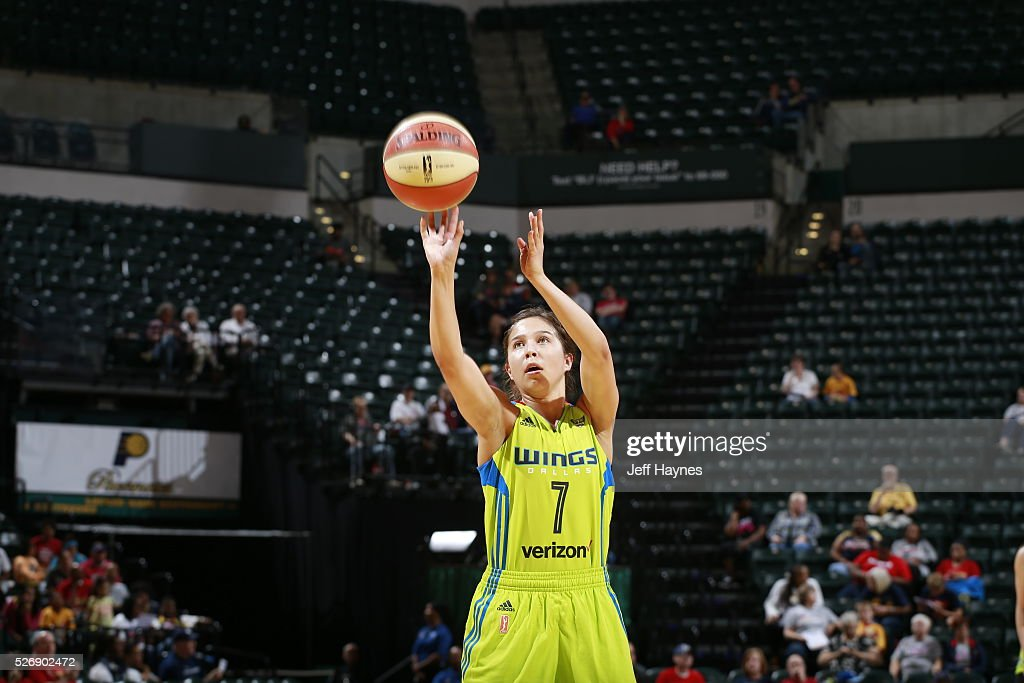 Jude Schimmel #7 of Dallas Wings shoots a free throw against the Indiana Fever during a preseason game on May 1, 2016 at Bankers Life Fieldhouse in Indianapolis, Indiana.