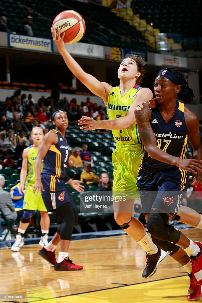 Jude Schimmel #7 of Dallas Wings shoots the ball against the Indiana Fever during a preseason game on May 1, 2016 at Bankers Life Fieldhouse in Indianapolis, Indiana.