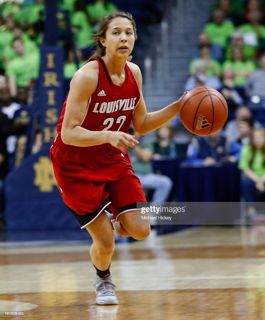 Jude Schimmel #22 of the Louisville Cardinals dribbles the ball up court during the game against the Notre Dame Fighting Irish at Purcel Pavilion on February 11, 2013 in South Bend, Indiana. Notre Dame defeated Louisville 93-64.