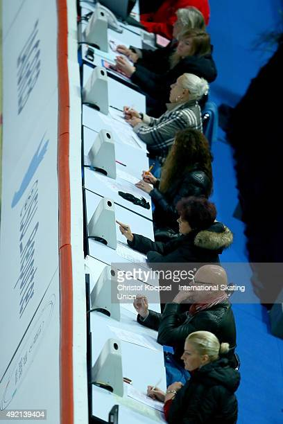 Judeges are seen during the junior ladies free skating of the ISU Junior Grand Prix at Dom Sportova on October 10 2015 in Zagreb Croatia