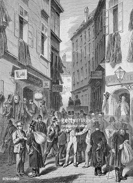 Judengasse jew's alleyway vienna austria historic wood engraving ca 1880