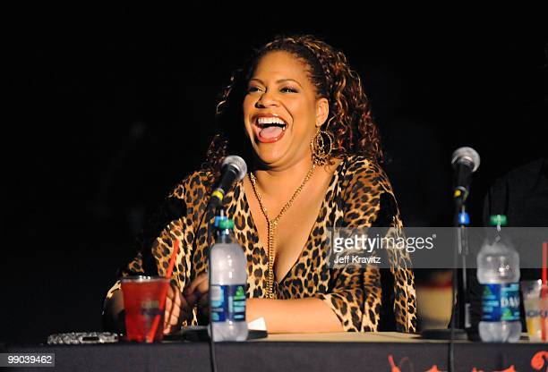 Judge actress Kim Coles speaks during the 2010 Cable Show Battle of the Bands for Cable Cares headlined by Band From TV at Nokia Theatre LA Live on...