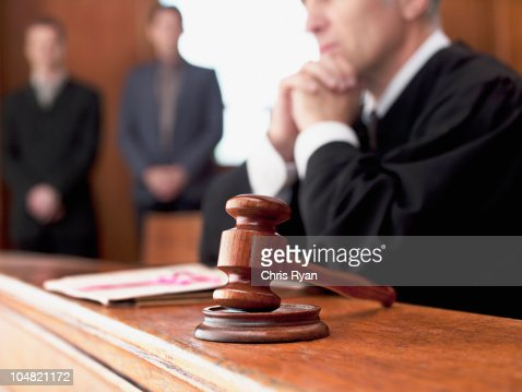 Judge and gavel in courtroom