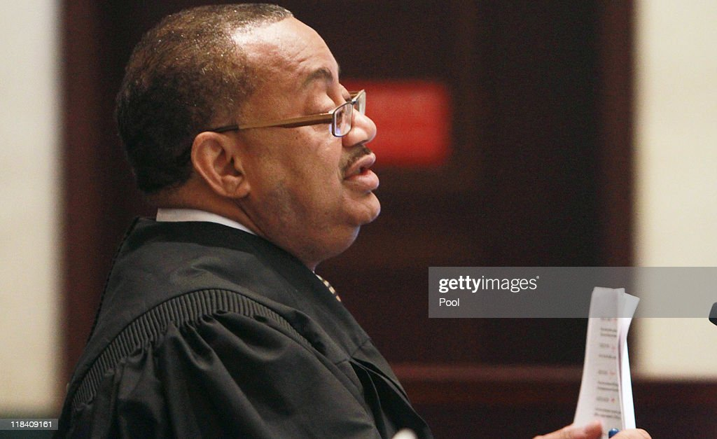 Judge Belvin Perry speaks during the sentencing hearing for Casey Anthony on charges of lying to a law enforcement officer at the Orange County Courthouse July 7, 2011 in Orlando, Florida. Anthony was acquitted of murder charges on July 5, 2011 but will serve four, one-year sentences on her conviction of lying to a law enforcement officer. She will be credited for the nearly three-years of time served and good behavior and will be released July 13.