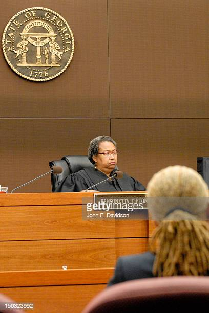 Judge Bensonetta Tipton Lane at hearing to discuss child custody between Usher Raymond and Tameka Foster at Fulton County State Court on August 15...