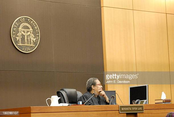 Judge Bensonetta Tipton Lane presides over a hearing to discuss child custody between Usher Raymond and Tameka Foster at Fulton County State Court on...