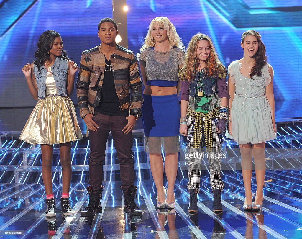 Judge Britney Spears (C) and contestants (L-R) Diamond White, Arin Ray, Beatrice Miller and Carly Rose Sonenclar onstage at FOX's 'The X Factor' Season 2 Top 10 Live Performance Show on November 21, 2012 in Hollywood, California.