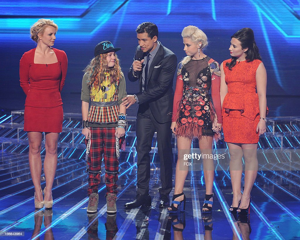Judge Britney Spears, contestant Beatrice Miller, host Mario Lopez, contestant Cece Freyand judge Demi Lovato onstage at FOX's 'The X Factor' Season 2 Top 10 to 8 Live Elimination Show on November 22, 2012 in Hollywood, California.