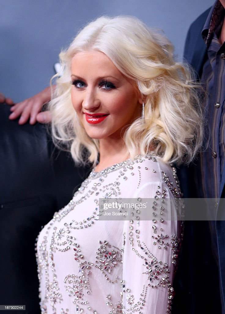 Judge Christina Aguilera arrives to the 'The Voice' Season 5 Top 12 Event at Universal Studios Hollywood on November 7, 2013 in Universal City, California.