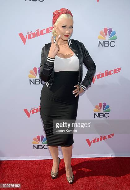 Judge Christina Aguilera attends 'The Voice' Karaoke For Charity at HYDE Sunset Kitchen Cocktails on April 21 2016 in West Hollywood California
