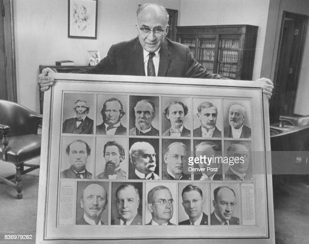 Judge David Brofman shows portraits of all Denver County Judges Top row from left are James Hall 186465 O O Kent 186567 Jacob Downing 186769 Henry A...
