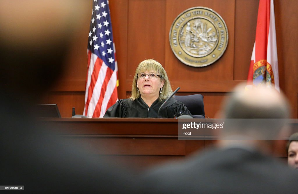 Judge Debra Nelson addresses the court as attorneys for the state and George Zimmerman argue during hearing in the George Zimmerman case in Seminole circuit court February 22, 2013 in Sanford, Florida. Defense attorneys for Zimmerman , who is accused of the murder of Trayvon Martin, were asking to depose Benjamin Crump, a lawyer for Trayvon Martin's parents, about an interview. The judge ruled against that request, but ruled in favor of a defense request for all voice recordings from the past three years that Trayvon Martin's parents and girlfriend have.
