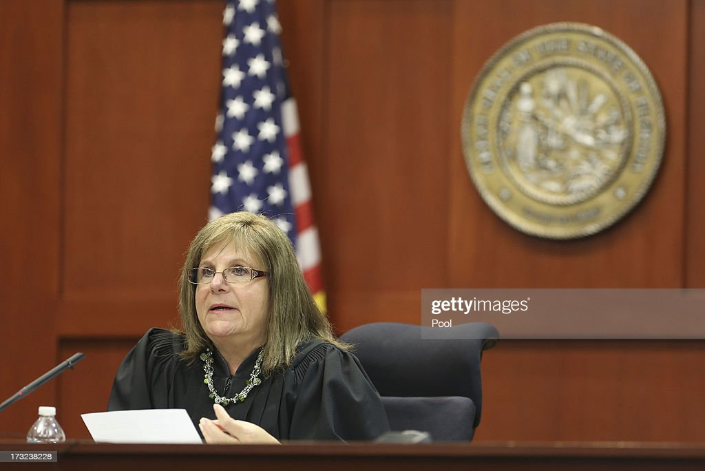 Judge Debra Nelson rules on some key issues at the end of the day during George Zimmerman's trial in Seminole circuit court July 10, 2013 in Sanford, Florida. Zimmerman has been charged with second-degree murder for the 2012 shooting death of Trayvon Martin.