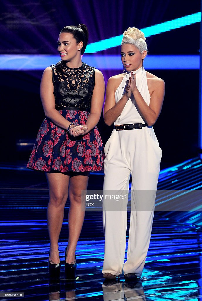 Judge Demi Lovato and contestant Cece Frey onstage at FOX's 'The X Factor' Season 2 Top 13 To 12 Live Elimination Show on November 8 2012 in...