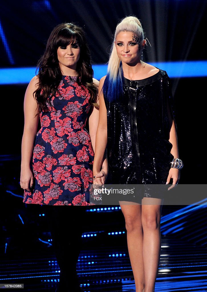 Judge Demi Lovato and eliminated contestant CeCe Frey onstage at FOX's 'The X Factor' Season 2 Top 6 to 4 Live Elimination Show on December 6 2012 in...