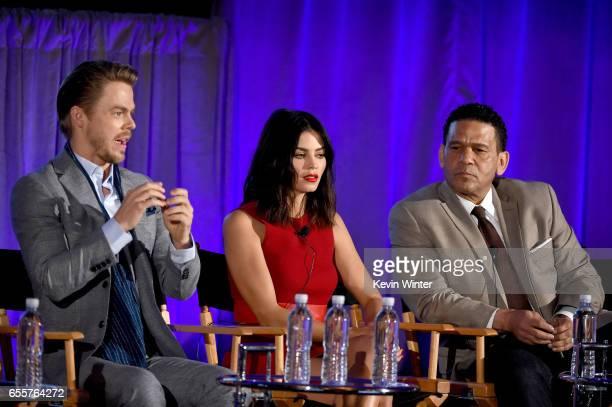 Judge Derek Hough Host Jenna Dewan Tatum and Executive producer Benny Medina of 'World Of Dance' speak onstage during the 2017 NBCUniversal Summer...