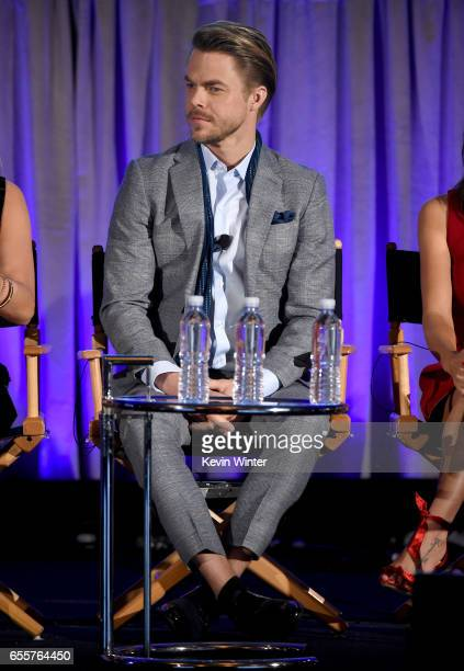 Judge Derek Hough of 'World Of Dance' speaks onstage during the 2017 NBCUniversal Summer Press Day at The Beverly Hilton Hotel on March 20 2017 in...
