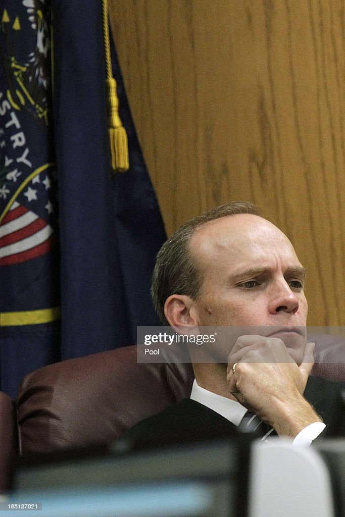 Judge Derek Pullan listens to opening statements as the Martin MacNeill trial starts on October 17, 2013 in Provo, Utah. Dr. Martin MacNeill is accused of killing his wife Michele MacNeill in 2007 to continue an affair with a younger woman.