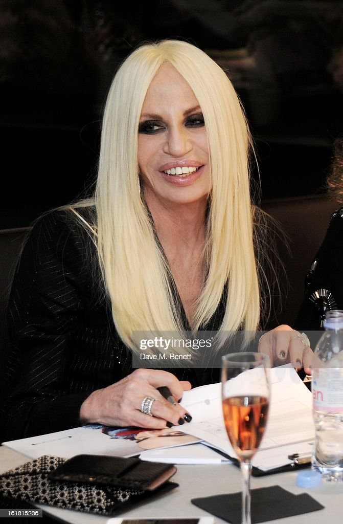 Judge Donatella Versace attends the 2013 International Woolmark Prize Final at ME London on February 16, 2013 in London, England.