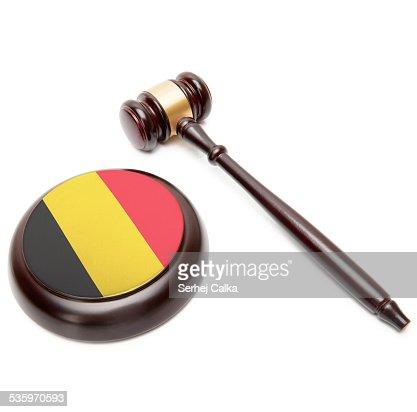 Judge gavel and soundboard with national flag - Belgium : Stock Photo