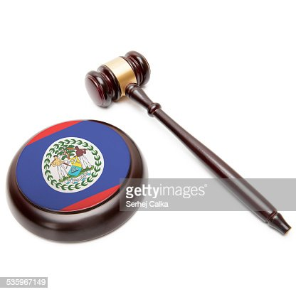 Judge gavel and soundboard with national flag - Belize : Stock Photo
