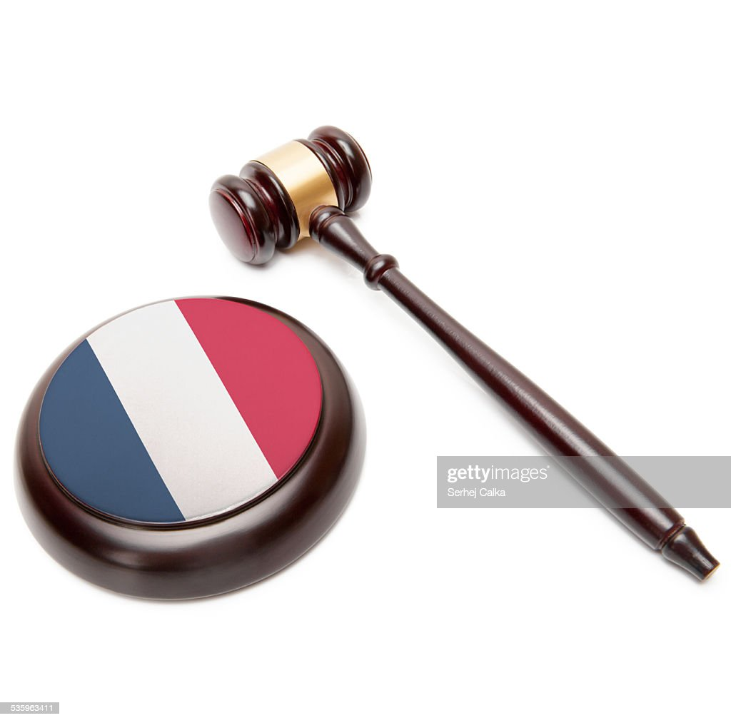 Judge gavel and soundboard with national flag - France : Stock Photo