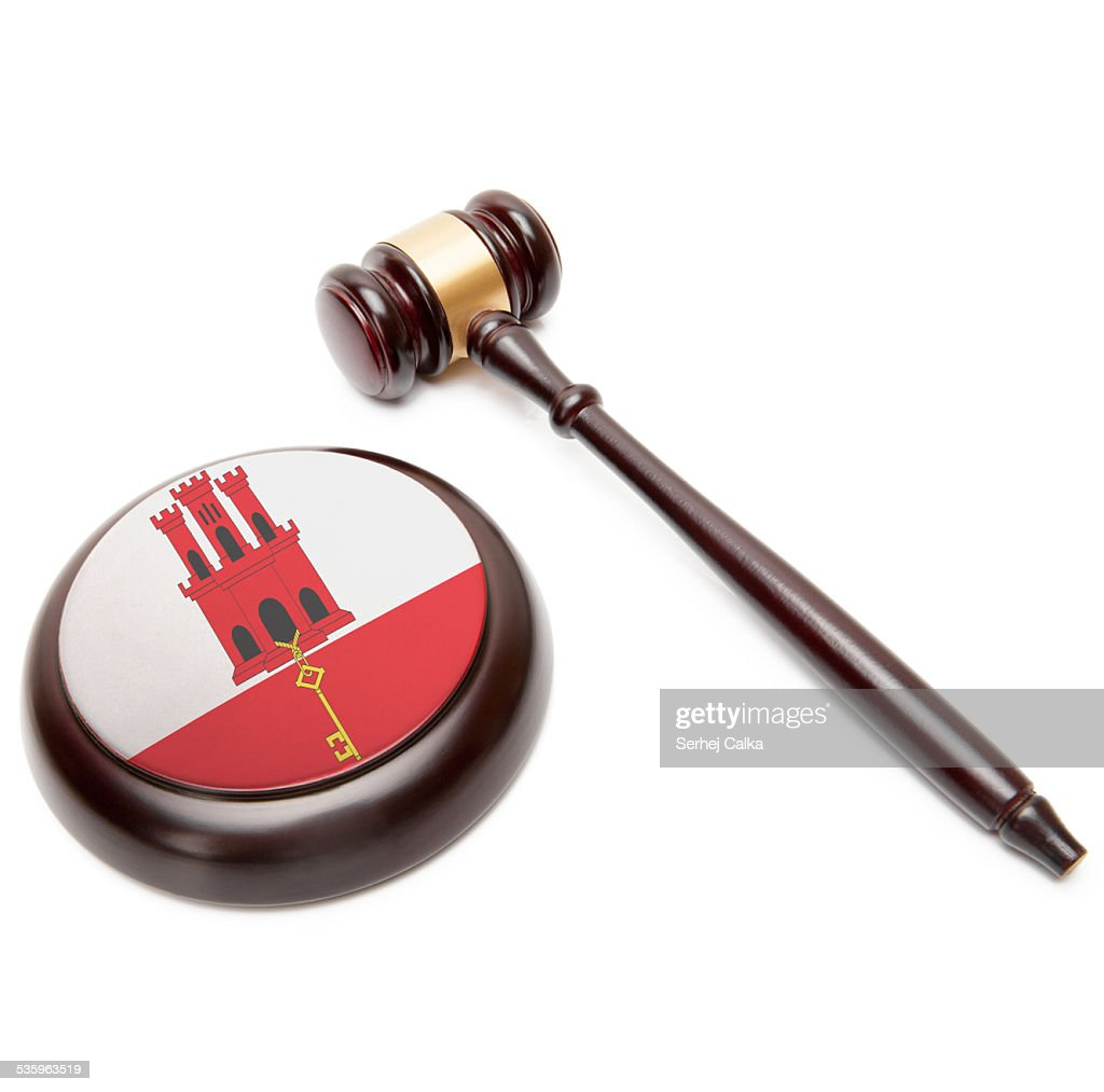 Judge gavel and soundboard with national flag - Gibraltar : Stock Photo
