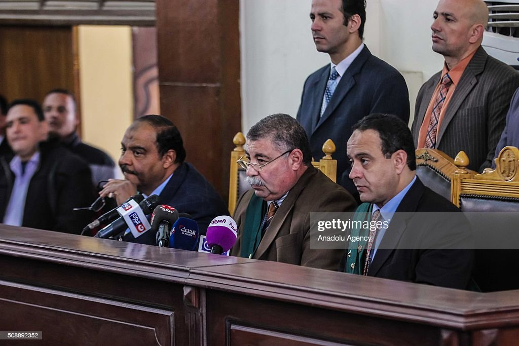 Judge Hasan Ferid (C) conducts the trial of Egyptian former interior minister Habib al-Adly (not seen) at Police Academy on the charges of corruption, in Cairo, Egypt on February 7, 2016. Habib al-Adly served as interior minister of Egypt from 1997 to 2011, he was the longest serving interior minister under President Hosni Mubarak.