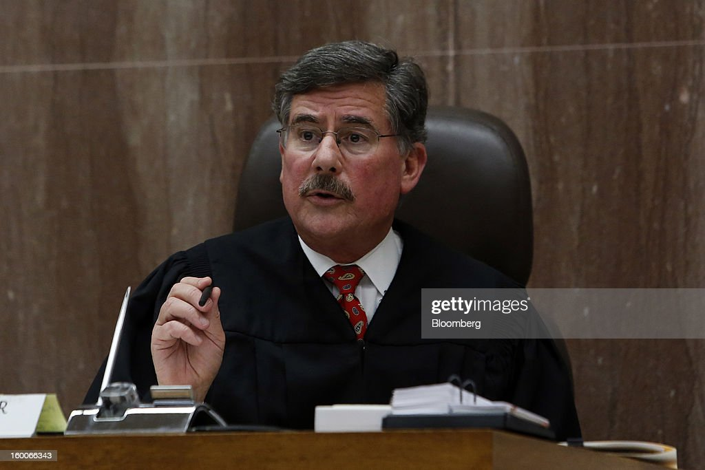 Judge J. Stephen Czuleger, speaks at the trial of Kransky v. DePuy et al, at California Superior Court house in Los Angeles, California, U.S., on on Friday, Jan. 25, 2013. Johnson & Johnson failed to warn doctors of the risks of defective metal hip implants that it didn't test properly, a lawyer told a Los Angeles jury in the first of 10,000 lawsuits over the device to go to trial. Photographer: Patrick T. Fallon/Bloomberg via Getty Images