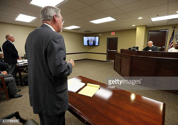 Judge James B Gosnell Jr presides as Dylann Roof appears via video uplink from the detention center to the courtroom at Centralized Bond Hearing...