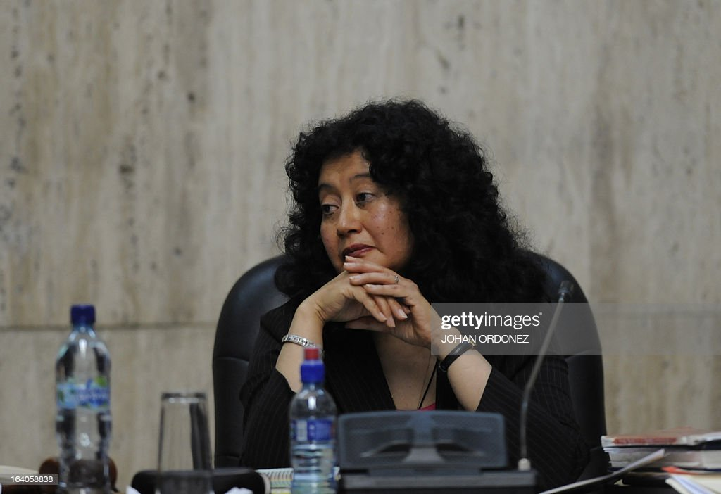 Judge Jasmin Barrios is seen during the opening trial of Former Guatemalan de facto President (1982-1983), retired General Jose Efrain Rios Montt on charges of genocide during his de facto 1982-83 regime, in Guatemala City on March 19, 2013. Rios Montt, who stands trial despite defense attempts to postpone the start of the historic proceedings, is accused of ordering the execution of 1,771 members of the indigenous Ixil Maya people in the Quiche region. The trial marks the first time genocide proceedings have been brought in relation to the 36-year civil war in Guatemala that ended in 1996, leaving an estimated 200,000 people dead, according to United Nations estimates. AFP PHOTO/Johan ORDONEZ