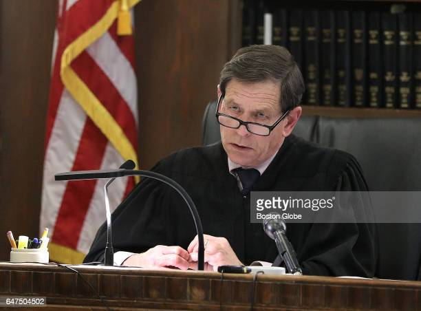 Judge Jeffrey Locke presides during the double murder trial of former New England Patriots tight end Aaron Hernandez at Suffolk Superior Court in...