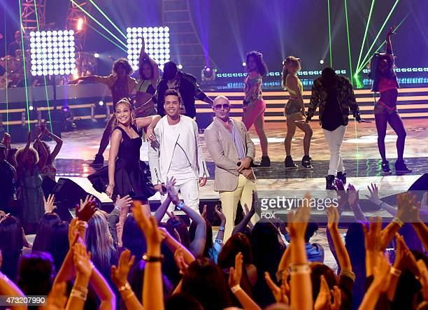 Judge Jennifer Lopez and singers Prince Royce and Pitbull perform onstage at FOX's 'American Idol XIV' Finale on May 13 2015 at the Dolby Theater in...