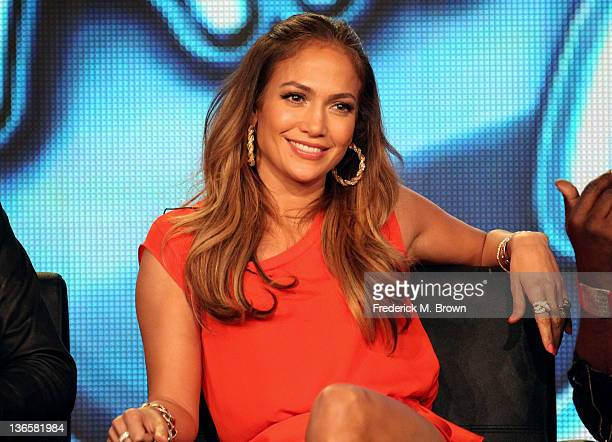 Judge Jennifer Lopez speaks onstage during the 'American Idol' panel during the FOX Broadcasting Company portion of the 2012 Winter TCA Tour at The...