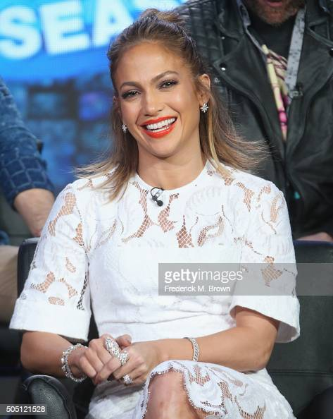 Judge Jennifer Lopez speaks onstage during the 'American Idol' panel discussion at the FOX portion of the 2015 Winter TCA Tour at the Langham...