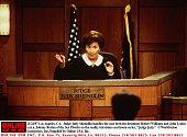 Judge Judy Sheindlin Handles The Case Between Drummer Robert Williams And John Lydon In The Reality Television Courtroom Series 'Judge Judy' 11/24/97...