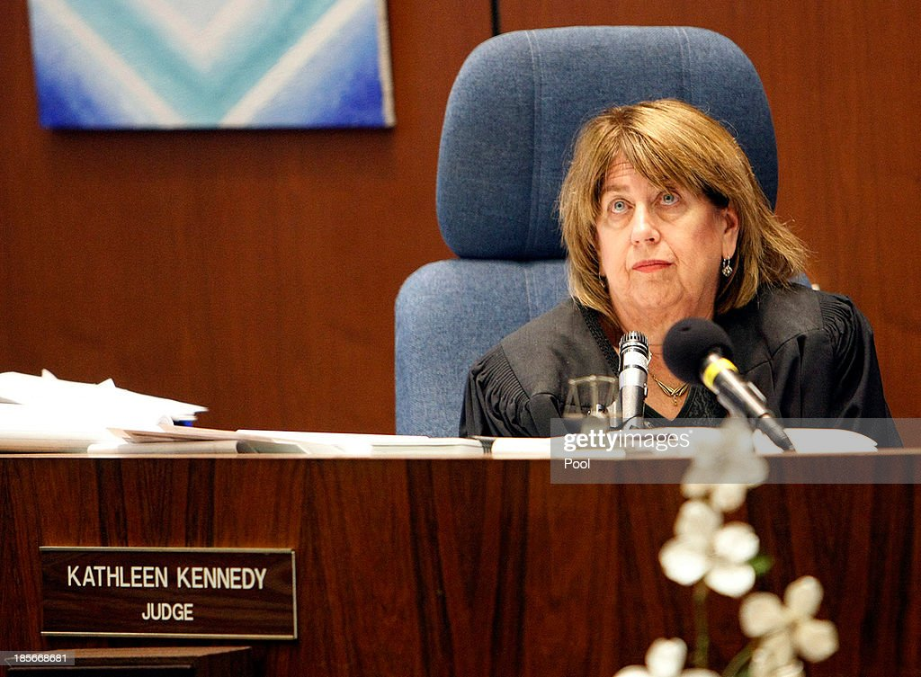 Judge Kathleen Kennedy lsitens during opening statements in the trial of Angela Spaccia, former assistant city manager of Bell, in Los Angeles Superior Court on October 23, 2013 in Los Angeles, California. Spaccia, who is facing 13 corruption-related felony counts, is expected to testify in the municipal corruption case.